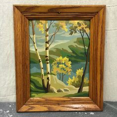 Paint By Number Framed Mountains, Vintage Painting Mid Century Landscape