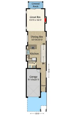Narrow Modern House Plan with Modern Styling and affordable structure Contemporary House Plans, Modern House Plans, House Floor Plans, Narrow House Designs, Narrow Lot House Plans, Shotgun House Plans, Architectural Design House Plans, Architectural Presentation, Architectural Models
