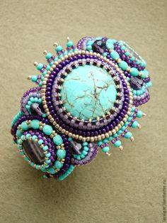 """Купить Браслет """"Легенды Севера"""" (вышивка бисером) - разноцветный, браслет с бирюзой, браслет с аметистом"""