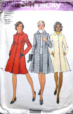 Lined Princess Coat Side Front Seam Pockets A-Line Wool Coat Misses' Size 14 Bust 36 Vintage Simplicity Sewing Pattern 5928 Uncut – Coat of arms Coat Pattern Sewing, Vogue Sewing Patterns, Simplicity Sewing Patterns, Coat Patterns, Vintage Sewing Patterns, Sewing Ideas, Princess Style, Princess Seam, Applique Quilts