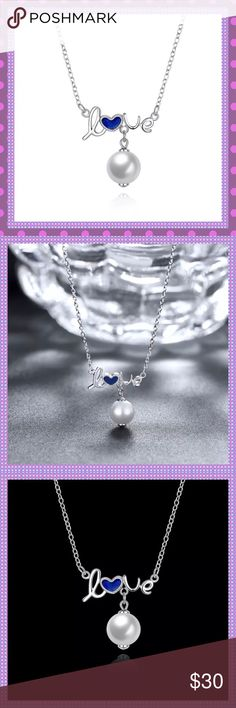 """💙Blue """"Oil Drop"""" SS Love/Pearl Necklace💙 💙BEAUTIFUL Blue """"Oil Drop"""" Solid Sterling Silver LOVE Pendant Necklace with White Dangling Pearl. Approx. 16"""" + 2"""" Extender, Pendant Size Approx. 1.9CMx2.1CM. Weight: 3.1g. This piece is adorable and the perfect accessory for anytime wear.💙 Boutique Jewelry Necklaces"""