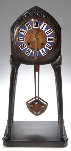 Albin Müller, Secessionist Mantle Clock, around 1903/04, 55 cm H. |  SOLD $16,920 Germany 2007
