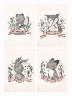 4 little prints from Whimsy Whimsical. All the cutie animals in a set. http://www.chanyeevon.blogspot.com/
