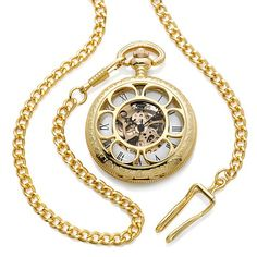 """Kansas City Railroad"" Handwind Pocket Watch with Chain-Love this-it is a replica of the grandeur of yesteryear's rail systems and celebrates the Old West."