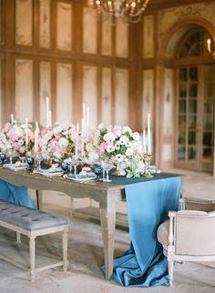 La Tavola Fine Linen Rental: Topaz Ink | Photographer: Bryan Miller, Event Design & Coordination: Luxe Events, Floral Design: Blush Botanicals