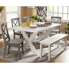 Beachcrest Home Medulla 6 Piece Dining Set Finish: White/Mint White Dining Room Sets, Dining Set With Bench, Kitchen Dining Sets, 7 Piece Dining Set, Dining Bench, Kitchen Chairs, Kitchen Ideas, Outdoor Dining, Outdoor Spaces