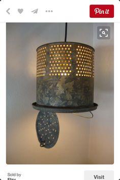 Minnow bucket repurpose Rustic Lighting, Vintage Lighting, Cabin Lighting, Industrial Lighting, Lake Decor, Grand Island, Decoration, Rustic Decor, Light Fixtures