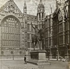 Alone at the Houses of Parliament with the statue of Richard I, c. 1910