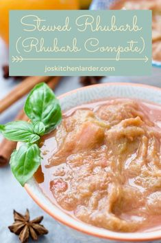 Simple and delicious this basic stewed rhubarb recipe requires only 3 ingredients with extra flavourings as needed to suit your mood & taste. Extremely versatile topping, filling or even dessert in its own right you won't be able to get enough of. #stewedrhubarb #rhubarbcompote #dessert #breakfast Stewed Rhubarb Recipe, Rhubarb Recipes, Great Recipes, Snack Recipes, Vegan Recipes, Good Food, Yummy Food, Tasty, Rhubarb Compote