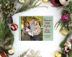 Evelyn - Photo Christmas Card - Hexagon Christmas Card - Custom Holiday Card - Patterned Card - Printed Christmas Card - Bright Card