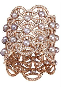 Cartier ~ Nouvelle Vague Cuff Bracelet set in pink gold w freshwater pearls + diamonds
