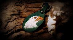 "Leather key fob ""eagle head"", hand tooled and painted #eaglehead #keyfob #eagle"