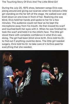 A touching story of Elvis & a young blind girl