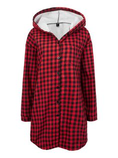 Women Long Sleeve Plaid Single Breasted Hooded Coat
