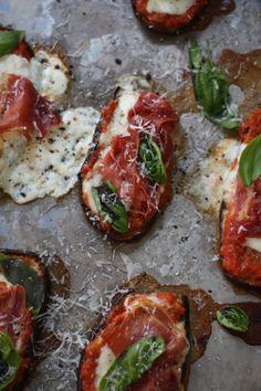Smoky Prosciutto Eggplant Pizzas