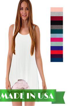Women's Sleeveless Tunic Tank Top with Flare Hem / Handkerchief HemHigh Low Hem #CustomMade #HandkerchiefHemTunic #Casual