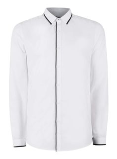 White Cotton Grandad Collar Long Sleeve Shirt | New Look ...