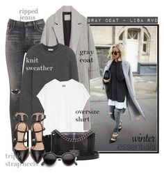 """GRAY COAT - Lisa Rvd (check out the polyvore editorial collection)"" by ssennii ❤ liked on Polyvore featuring Citizens of Humanity, Zara, Balenciaga, Oak, Gianvito Rossi, The Elder Statesman, Chanel and Retrò"