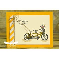 """""""A super cute new Sale A Bration stamp set called """"Pedal Pusher"""". I just love this sweet bicycle stamp image!! I want a bicycle like this! Make something…"""""""