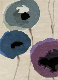 100% wool hand tufted rug with bold floral bursts in eggplant, teal and olive by designer Sanderson for Surya (SND-4510).