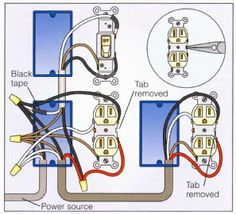 Wire an outlet, How to wire a duplex receptacle in a variety of ways. - Construction Wire an outlet, How to wire a duplex receptacle in a variety of ways. Basic Electrical Wiring, Electrical Wiring Diagram, Electrical Projects, Electrical Installation, Electrical Outlets, Electrical Engineering, Ac Wiring, Electrical Symbols, Electrical Switches