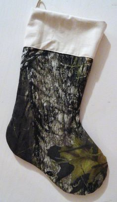 Burlap and Realtree Camo Christmas Stocking with Large Realtree ...