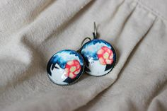 Your place to buy and sell all things handmade Black Hair Japan, White Earrings, Drop Earrings, Japan Fashion, Cute Dolls, Red Flowers, Antique Gold, Handmade Jewelry, Retro