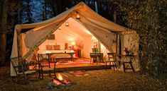 Glamping at Fireside Resort at Jackson Hole Campground, Jackson Hole, Wyoming. This is my kind of 'glamping'! Outdoor Fun, Outdoor Camping, Outdoor Spaces, Outdoor Living, Backyard Camping, Campsite, Tent Living, Camping Outdoors, Outdoor Bedroom