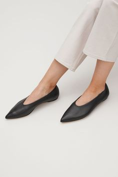 COS image 4 of Pointed slip-on shoes in Black