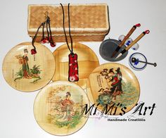 Set of necklace and earings, japan inspired, on the nacklace there is the name written in japanese. MiMi's Art - Handmade Creations