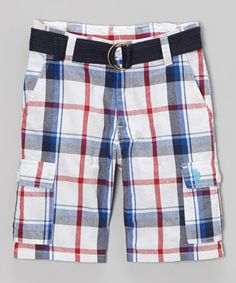 This Blue & Red Plaid Belted Cargo Shorts - Boys is perfect! #zulilyfinds