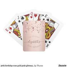 30th birthday rose gold pink glittery stars glam playing cards 30th Birthday Party For Her, 70th Birthday Card, Birthday Roses, Unique Birthday Gifts, Rose Gold Pink, Rose Gold Glitter, Gold Sparkle, Playing Cards, Party Games