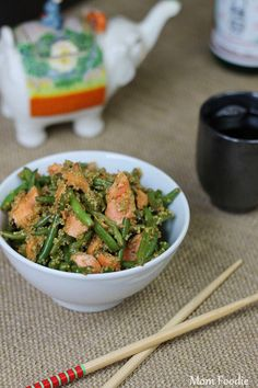 Asian wild salmon, quinoa & green bean salad