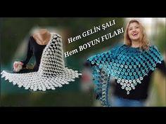 HEM GELİN ŞALI, HEM BOYUN FULARI. Crochet Scarves, Crochet Hats, Crochet Top, Fashion, Ties, Scarves, Shawl, Tejidos, Tricot