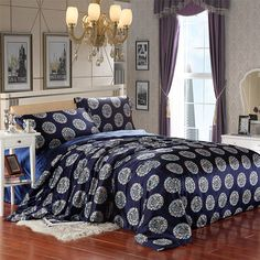 The Dragon And The Phoenix Navy Blue Silk Duvet Cover Set Silk Bedding Pillow Shams, Pillows, Silk Bedding, Flat Sheets, Blue Fashion, Bed Room, Duvet Cover Sets, Phoenix, Comforters
