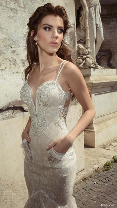 julie vino bridal spring 2017 sleeveless double straps sweetheart mermaid lace wedding dress (augusta) zfv pockets