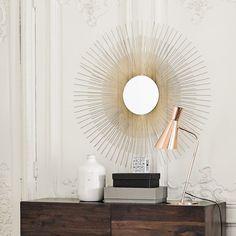 ALYSÉE golden metal mirror D 95cm Window Mirror, Metal Mirror, Mirrors, Luxury Interior Design, Interior Design Inspiration, Retro Lounge, Deco Design, New Living Room, Office Interiors