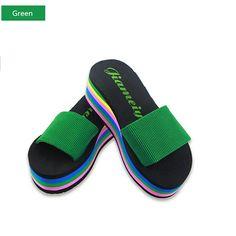 6dd5bd149cf Women Casual Flip Flops Foam Beach Sandals Rainbow High Platform Wedge  Slipper Shoes Womens Shoes Wedges