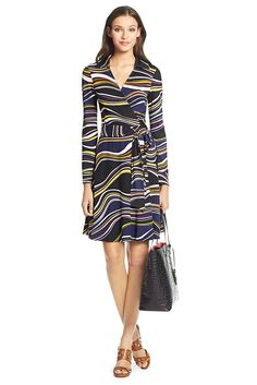 Sewing inspiration: From DVF. The T72 is the original wrap style updated for the modern woman. A cut waist flatters curves, while the collar, full-length sleeve and A-line skirt add a sophisticated edge. With self-tie at waist. Unlined. Falls to above knee. Fit runs small.