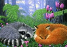 Raccoon Fox Forest Limited Edition ACEO Print Art | eBay Bridget Voth, Artist - Ebay ID star-filled-sky