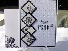 Great 50th birthday card! Classy and Elegant 50th Birthday Handmade Card Black/White | cardsbylibe - Cards on ArtFire