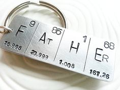 Hand Stamped, Personalized - Periodic Table Elements Father Keychain - Father's Day Gift - Men's Keychain - Geek Gift - Graduation Gift $24