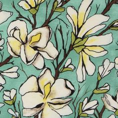 Michael Miller fabric Magnolia Branch flowers  beautiful fabric with white magnolia flowers from the USA