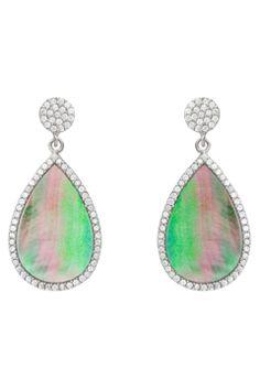 Allure Zirconia & Abalone Teardrop Dangling Earrings - Beyond the Rack