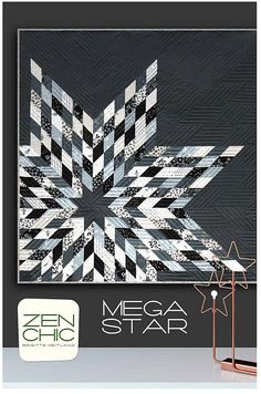 Mega Star Quilt Pattern by Zen Chic - Jelly Roll Quilt Pattern - 2.5 Inch Strip Pattern - Lone Star Quilt Pattern - Modern Lone Star Pattern