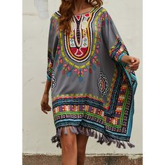 062a535171f Boho V-Neck Printed Casual Summer Shift Dresses in 2019