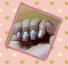 "Catrice iridescent illusion"", anni magic fairy tale"", essie blanc"", with rhinestone and white stamping nail design Magic Fairy, Essie, Iridescent, My Nails, Illusions, Stamping, Fairy Tales, Nailart, Nail Designs"
