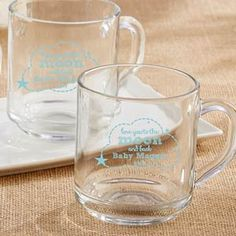 Personalized Glass Coffee Mug - To the Moon & Back Cheap Baby Shower Favors, Baby Favors, Fun Baby Shower Games, Baby Shower Parties, Baby Quilt Panels, Unique Party Favors, Glass Coffee Mugs, Personalized Favors, Baby Decor