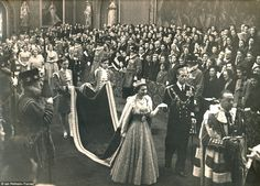 Beginning official duties: The Queen and Prince Philip on the first opening of parliament in November 1952