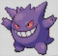Gengar Pokemon perler bead pattern